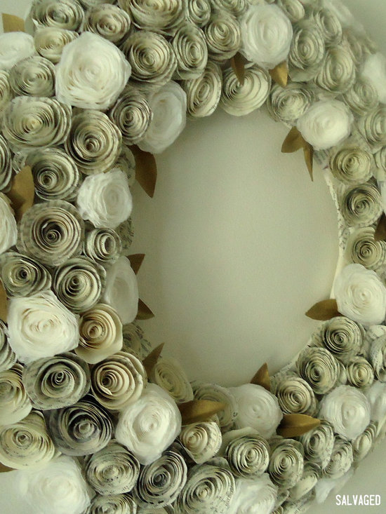 Large Book Page and Coffee Filter Flower Wreath - This wreath comes in a variety of sizes and is one of the most popular that I sell. It's made from book pages and coffee filters, and handpainted gold paper leaves.
