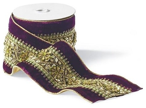 Beaded Purple Velvet Christmas Ribbon traditional-holiday-decorations