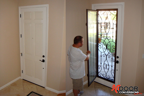 Wrought iron inserts monarch insert in matte black w for Exterior doors with screen insert