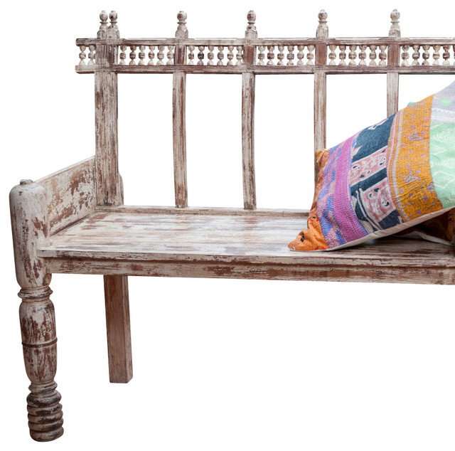 Bench Martinique White transitional-outdoor-benches