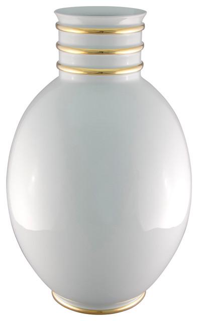 Arienne Egg Vase, White & 24k Gold contemporary-vases