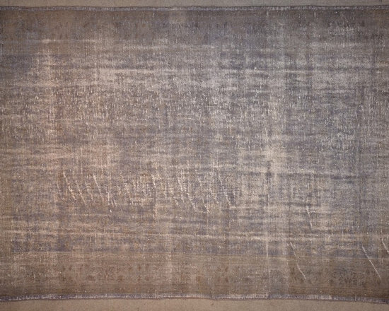 Mid Grey Overdyed Rug - Rich color with hints of underlying pattern revive well-loved vintage Turkish carpets into a truly fabulous area rug.