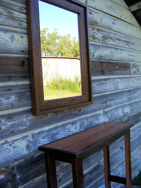 100yr. old Barnwood Mirror and Table Set traditional-accessories-and-decor