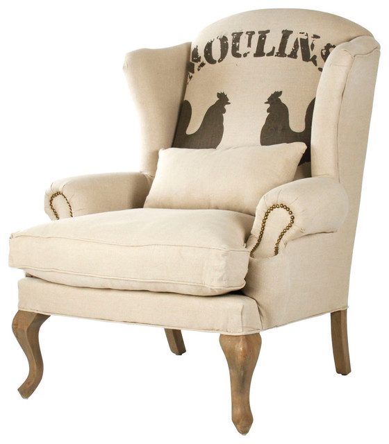 """Zacharie """"Moulins"""" French Country Nail Head Club Chair farmhouse-armchairs"""