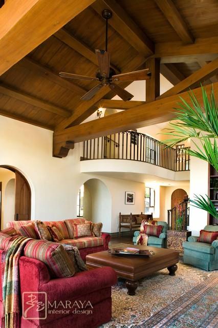 Santa Barbara Villa Family Room mediterranean-family-room