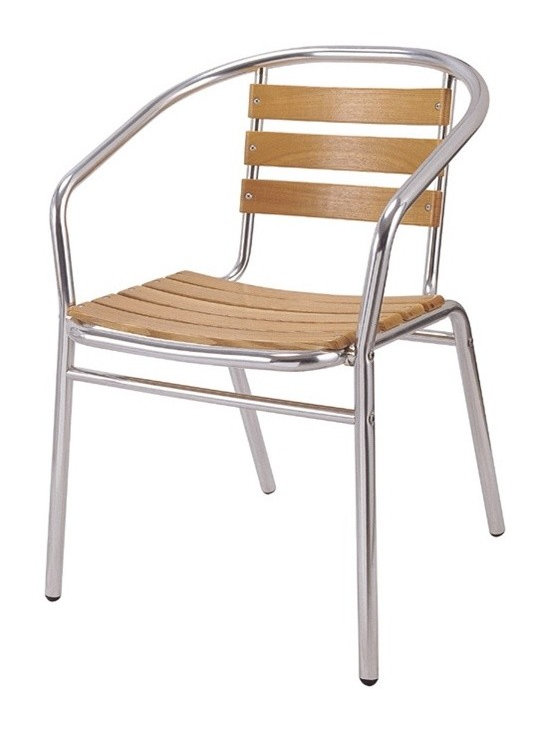 Aluminum Patio Chair YA806-SO - This patio dining chair has an aluminum base with wooden slats and is great for any outdoor restaurant or cafe seating!