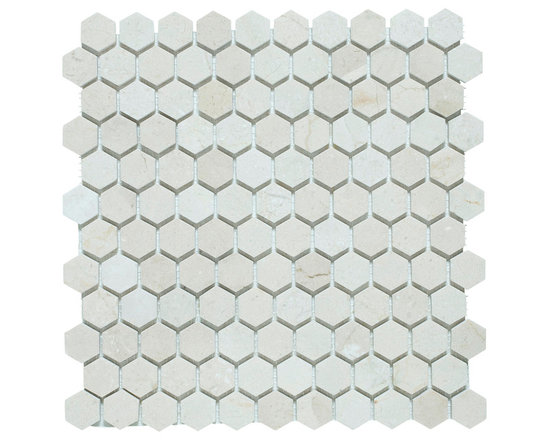 Hexagon Mosaics, Crema Marfil Marble, 1 Inch, Polished - Sold per Square Foot