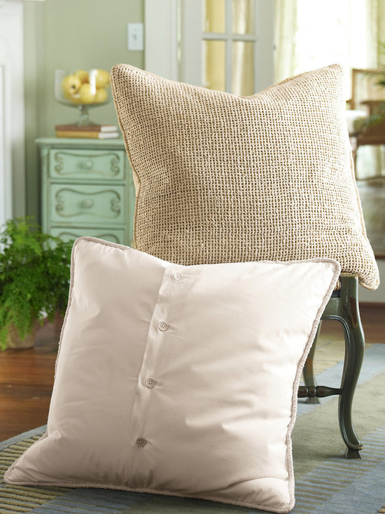 Raw Silk Woven Euro Sham - From cottage to contemporary, lush raw silk fiber in a charmingly homespun open weave design (lined in tonal cotton) provides the perfect complement to so many current looks. This Euro sham is finished with ruched cotton cording and back button closure.