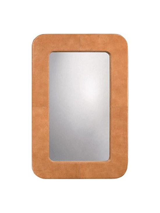 Jamie Young Company - Echo Mirror - The Echo Mirror features authentic material and can be hung vertically or horizontally. Available in Buff Leather. 59 inch height x 39.5 inch width x 2 inch depth.