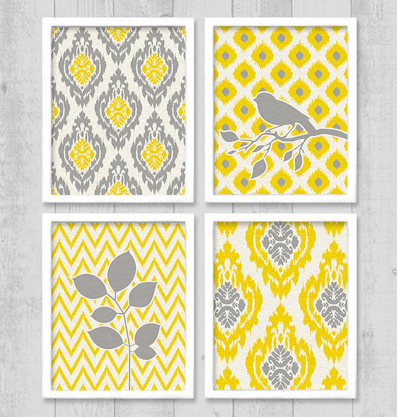 Ikat Bird Chevron Digital Printable Wall Art By Vn