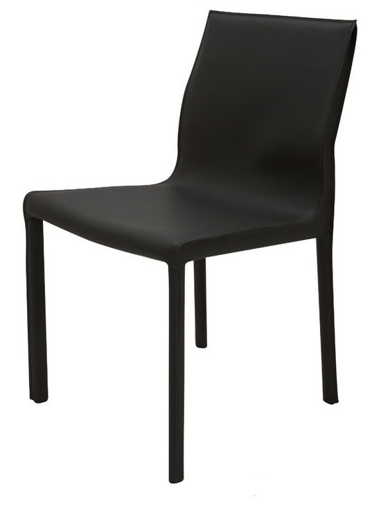 Nuevo Living - Colter Dining Chair - Black Leather - Nuevo HGAR300 - Comfortable, elegant and classic, this Colter Dining Chair in black is perfect for any decor. It is made with a durable leather upholstery that is sure to last for years to come. Perfect for intimate gatherings or wild evenings, this wonderful furniture is sure to delight and amaze. The Colter Chair is available in your choice of black, white, dark grey, and mink colored leather. Enjoy simple pleasure with this furniture piece. Order yours online now!