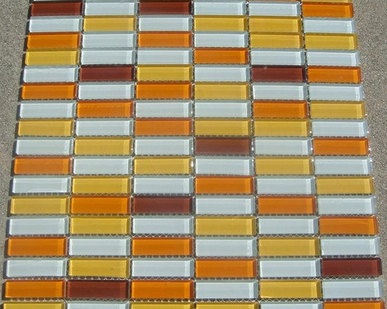C20 White Yellow Orange Mix Glass Mosaic Tile - White Yellow Orange Mix Glass Mosaic Tile C20