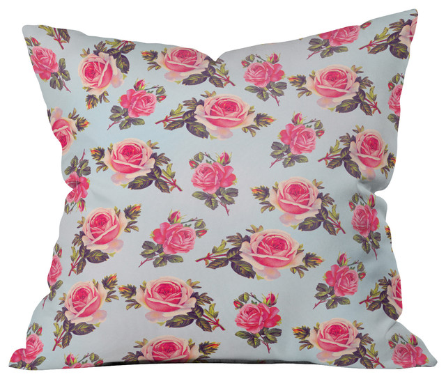 Allyson Johnson Pink Roses Throw Pillow - Farmhouse - Decorative Pillows - by DENY Designs
