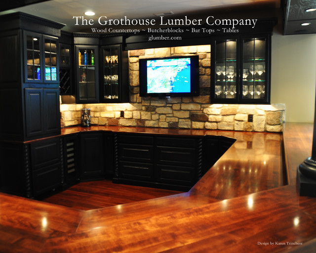 Solid Wood Mahogany Bar with Classic Chicago Style Bar Rail by Grothouse traditional wine cellar