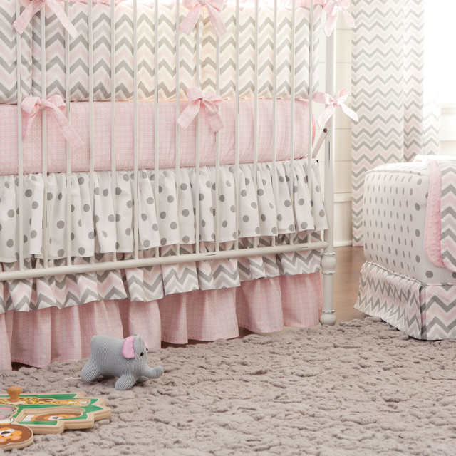 Pink and Gray Chevron 3-Tiered Crib Skirt contemporary-baby-bedding