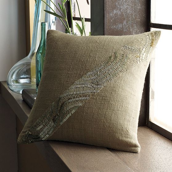 Diagonal Bugle Beads Pillow Cover - modern - pillows - by West Elm