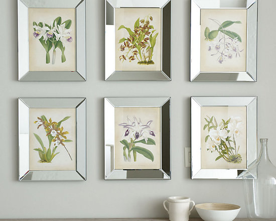 Ballard Designs - Orchids In Mirror Frame Art - Hang all six for a collected look. Lavender, gold & cream palette. Glass front. Botanicals are in full designer bloom and these neutral-toned orchid studies bring the look home with flawless style. Each image is printed on parchment-toned art paper and framed in beveled mirror inset to reflect light for an instant focal point. Orchid Print features: . .  .
