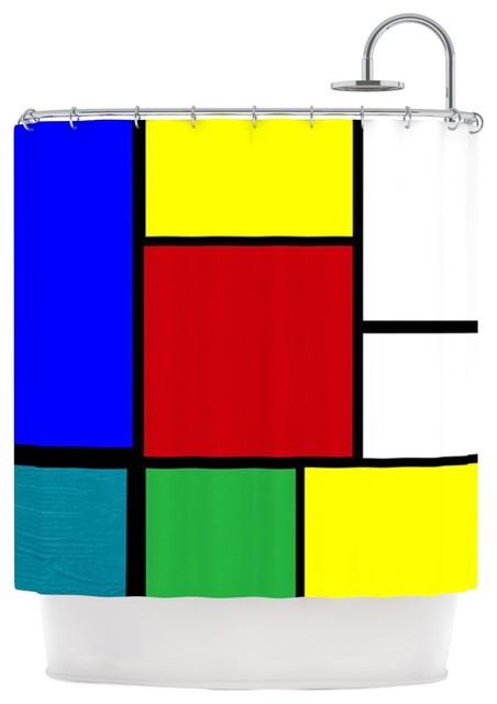 Oriana cordero mondrian me multicolor squares shower for Le corbusier meuble