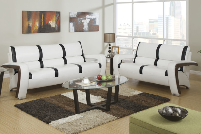 modern cream black leather sofa couch loveseat living room set poundex