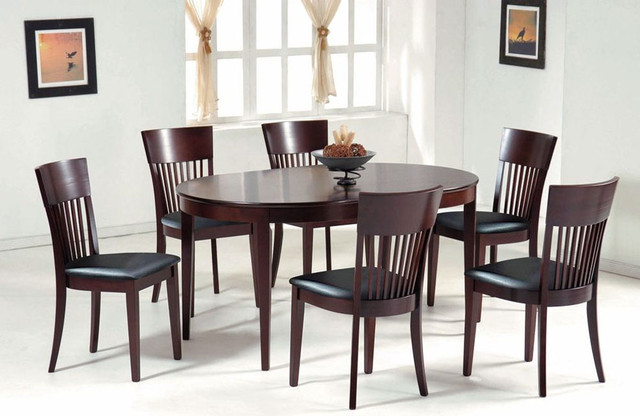 Contemporary Oval in Wood Dining Room Furniture Dinette ...