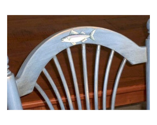 Sea Theme Fan Back Chairs With Custom Sea Paintings - Made by http://www.ecustomfinishes.com