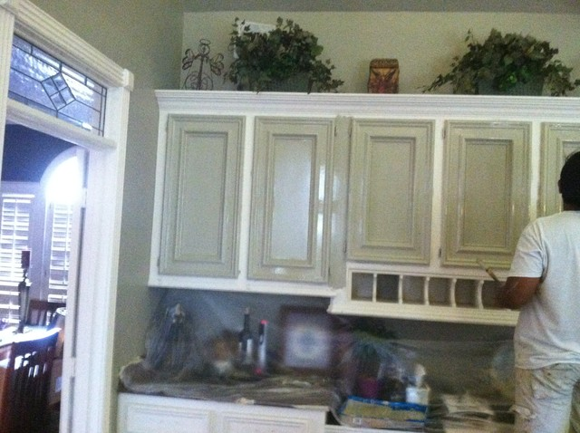 Kitchen Faux Painted Cabinets  Rustic  Kitchen  houston  by