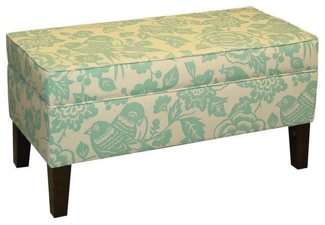 Teal Storage Bench Contemporary Accent And Storage