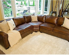 Elements Fine Home Furnishings - Rustic Brown Leather Sectional Sofa - SEC-LAFL- traditional-sectional-sofas