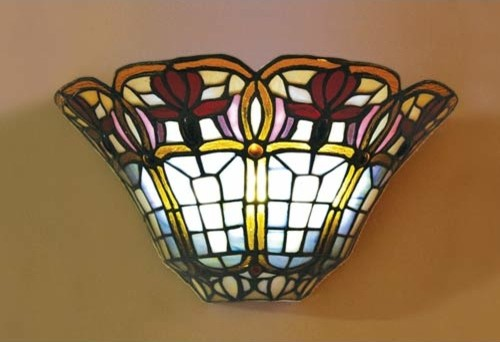 Battery Powered LED Half Moon Stained Glass Floral Wall Sconce