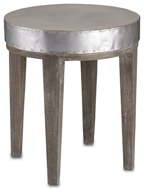 Currey & Co 3166 Wren Distressed Graphite End Table industrial-side-tables-and-end-tables