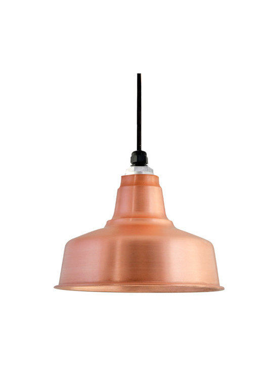 Barn Light Electric - The Eclipse Copper Pendant - Skillfully crafted to imitate our larger period-authentic RLM light shades, the Eclipse Copper Pendant showcases a compactly sided warehouse shade. This mini copper pendant light adds charm and patina to home interiors; adding shine to kitchen island lights and a little mixed-metal glamour to hallway lighting.�