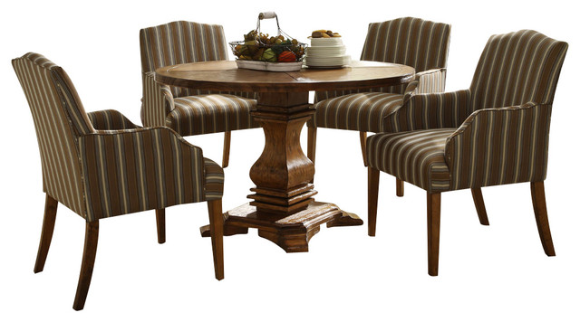 Casual 5 Piece Round Pedestal Dining Room Set Traditional Dining Sets