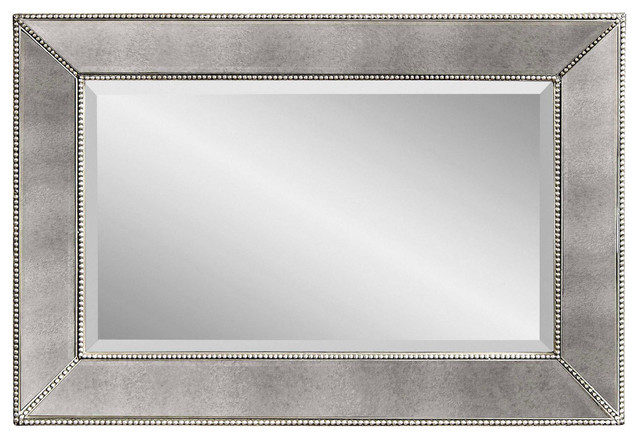 Beaded Antique Silver Rectangle Wall Mirror, 24 X 36 traditional-mirrors