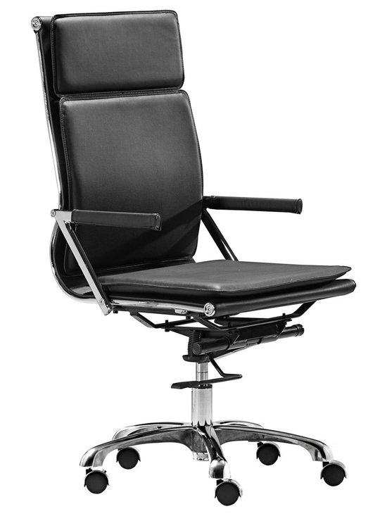 "Zuo - Zuo Lider Plus Black High Back Office Chair - Zuo Lider Plus Black High Back Office Chair. Contemporary office chair. Ergonomic shape with padded back and seat. Chrome finish seat frame. Soft neoprene arm pads. A chic addition to your home from Zuo Modern. 19"" wide. 22"" deep. Height adjusts from 42"" to 46"". Seat is 18 1/2"" square and adjusts from 16 1/2"" to 18"" high. Arms are 24 1/2"" high. Some assembly required.  Contemporary black office chair.  Ergonomic shape with padded back and seat.  Chrome finish seat frame.  Soft neoprene arm pads.  A chic addition to your home from Zuo modern.  Some assembly required.  19"" wide.  22"" deep.  Height adjusts from 42"" to 46"".   Seat is 18 1/2"" square and adjusts from 16 1/2"" to 18"" high.  Arms are 24 1/2"" high."