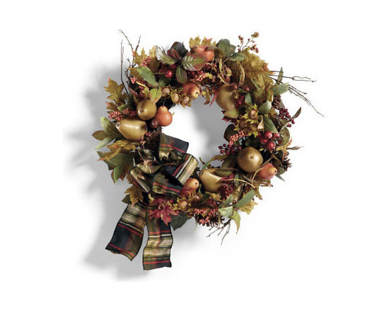 Grandin Road - Finley Hill Wreath - Faux foliage candle rings, wreath, chair swags, and mantel swag in fall colors. Each chair swag is slightly different for a designer look. Ribbon also available separately. Ribbon is imported. Lush and abundant, you'll enjoy the everlasting beauty of our Finley Hill Floral Candle Rings, Wreath, Chair Swags, and Mantel Swag from early fall all the way through Thanksgiving. Bursting with real-as-life autumn leaves, pears, berries, acorns, pinecones, and wire-edged taffeta ribbon by designer Donna Stevens (excluding candle rings). These pieces add natural charm to any decor.  .  .  . . A Grandin Road exclusive.