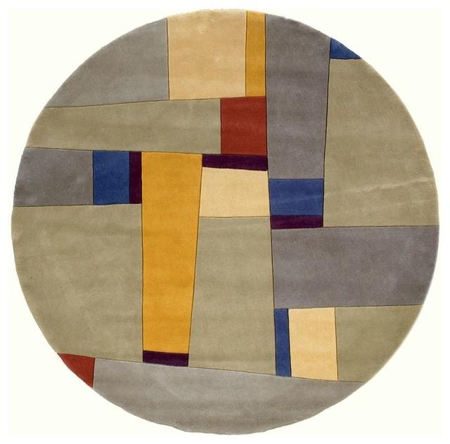 Contemporary new wave round 5 39 9 round grey area rug for Area rugs round contemporary
