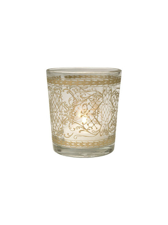 Clear Gilded Glass Candleholder, Scrolling Accents -