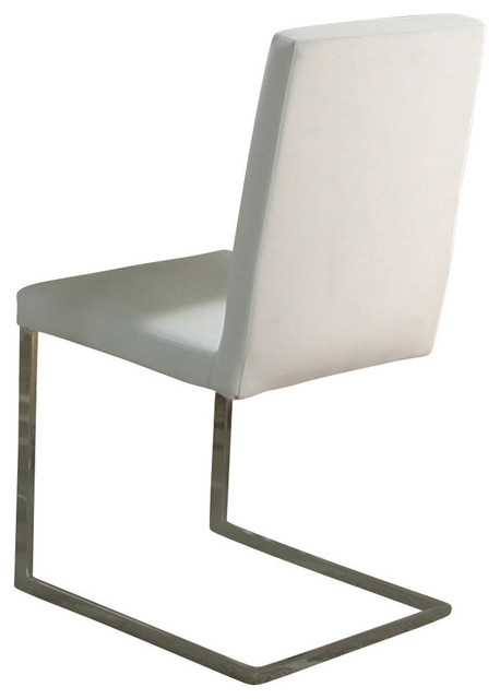 Cramco spica chrome and white breuer side chair set of 2 for White chrome dining chairs