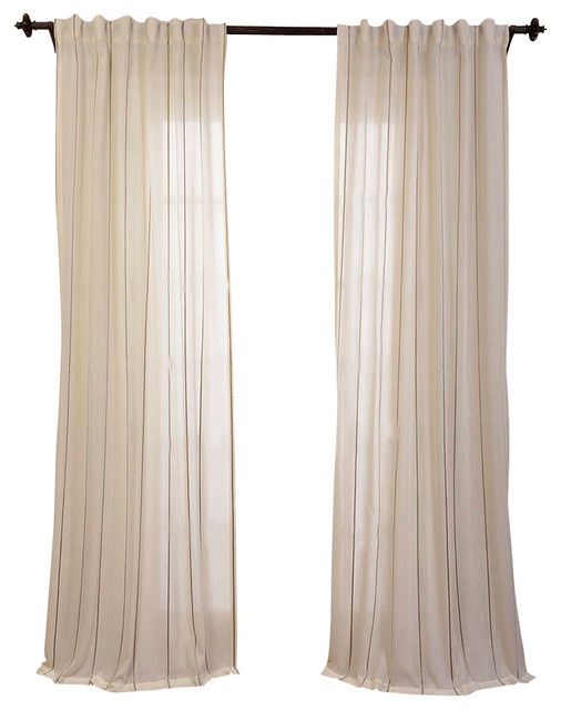 Aruba Gold Striped Linen Sheer Curtain - Transitional - Curtains - by Half Price Drapes