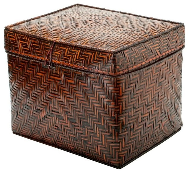 Bamboo Box with Cotton Liner, Brown contemporary-storage-bins-and-boxes
