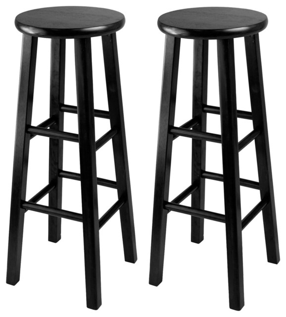 Winsome Wood 20230 Obsidian Set of 2 Bar Stool 29 Inch Square Leg Stools traditional-bar-stools-and-counter-stools