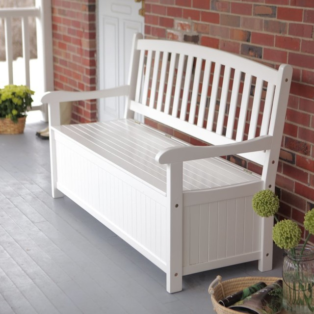 Coral Coast Pleasant Bay 5 Ft Curved Back Outdoor Wood Storage Bench White Contemporary