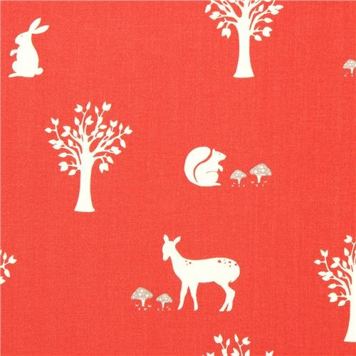 red birch organic fabric with squirrels, rabbits and bambis fabric