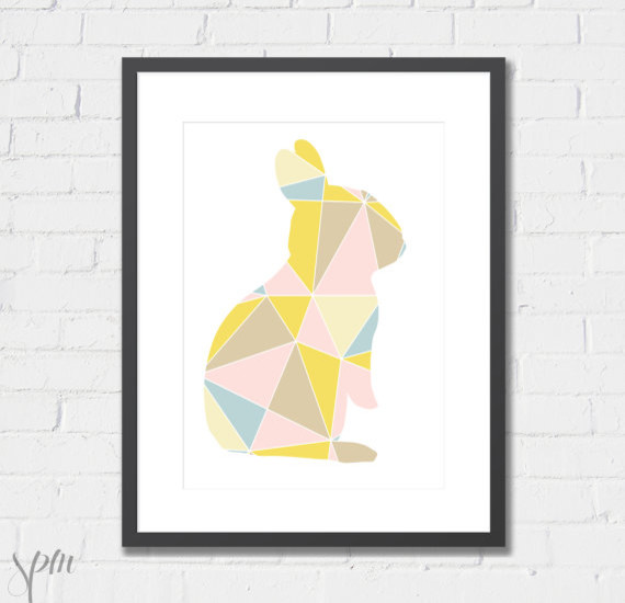 Geometric Bunny Art Print by Scissors Paper Mouse contemporary-prints-and-posters
