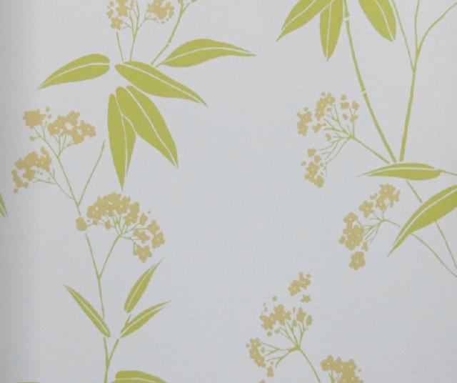 Modern Floral Print Wallpaper, Green - Transitional ...