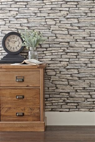 Gray slate wallpaper eclectic wallpaper other metro for Grey brick wallpaper living room