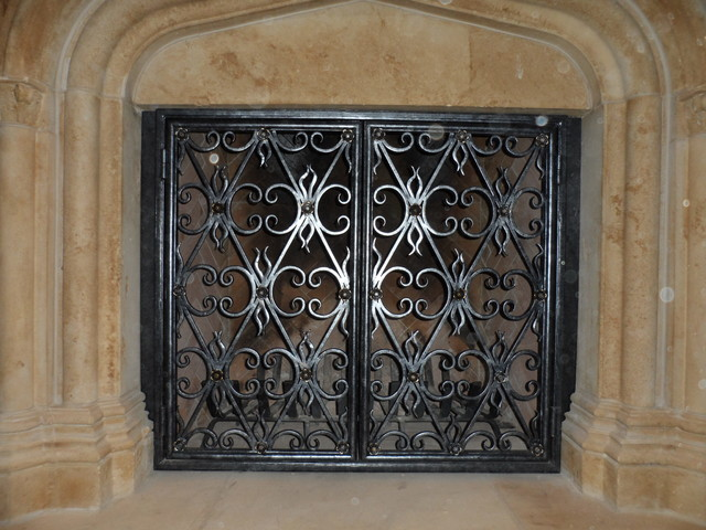 Wrought iron fireplace screens dallas by iron passion llc for Custom wrought iron fireplace screens