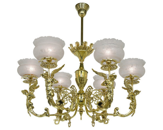 "Victorian Chandeliers - This is a beautiful, solid brass, figural reproduction gas chandelier. All castings are lost wax and beautifully done. Six muscular Zeus figures look sternly down from each arm. This fantastic quality chandelier is attributed to John W. Call, whose catalog of circa 1890 illustrates a nearly identical design 725-AHG-CH , our ""angel"" or goddess figural chandelier , (pictured here also)."