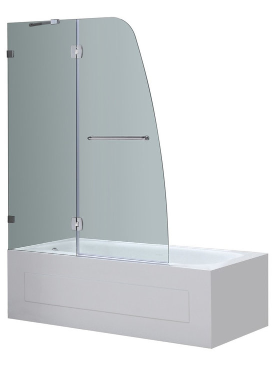 Aston - Aston 48x58, Completely Frameless Pivot Tub/Shower Door, Stainless Steel - Replace your dated tub door or shower curtain with the TDR982 Completely Frameless Tub-Height Pivot Shower Door Panel.