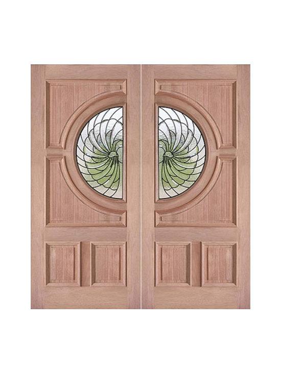 """Decorative Circle Lite, Prehung Double Entry Doors, Mahogany - SKU#PL-69_2BrandAAWDoor TypeExteriorManufacturer CollectionBudget DoorsDoor ModelDoor MaterialWoodgrainVeneerPrice1740Door Size Options2(36"""") x 80"""" (6'-0"""" x 6'-8"""")  $0Core TypeDoor StyleCircleDoor Lite StyleRadius LiteDoor Panel Style4 Panel , Raised MouldingHome Style MatchingBay and Gable , Bungalow , Elizabethan , Plantation , VictorianDoor ConstructionEngineered Stiles and RailsPrehanging OptionsPrehungPrehung ConfigurationDouble DoorDoor Thickness (Inches)1.75Glass Thickness (Inches)3/4Glass TypeTriple GlazedGlass CamingBlackGlass FeaturesTempered , InsulatedGlass StyleGlass TextureGlass ObscurityDoor FeaturesDoor ApprovalsDoor FinishesDoor AccessoriesWeight (lbs)850Crating Size25"""" (w)x 108"""" (l)x 52"""" (h)Lead TimeSlab Doors: 7 daysPrehung:14 daysPrefinished, PreHung:21 daysWarranty"""